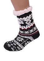 Теплі Жіночі Напівшерстяні Тапочки-Шкарпетки з Антиковзною Підошвою