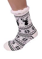Білі Теплі Жіночі Напівшерстяні Тапочки-Шкарпетки з Антиковзною Підошвою