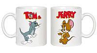 """Парные белые чашки (кружки) с принтом """"Tom and Jerry"""""""