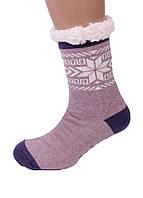 Теплі домашні тапочки-шкарпетки з антиковзною поверхнею Сніжинка