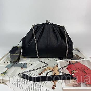 Женская кожаная сумка клатч через плечо на цепочке Polina & Eiterou чёрная