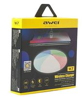 Беспроводная зарядка с подсветкой 7 цветов 10W 7 COLOR AWEI W7 + WIRELESS CHARGE, фото 1