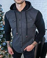 Чоловіча кофта темно-сіра з капюшоном, фото 1