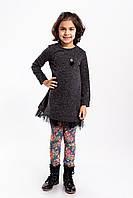 Детская нарядная туника для девочки с люриксом на подоле по кругу фатин 7-11 лет, черного цвета