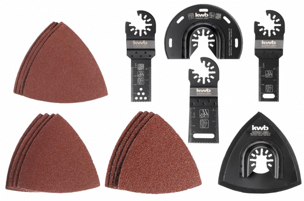 Набор насадок и шлифбумаги для многофункционального инструмента 17 шт, kwb
