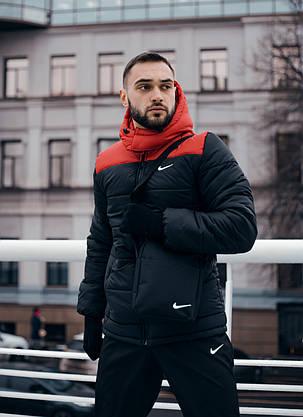 Куртка мужская Зимняя Nike красная-черная + штаны найк черные Комплект спортивный+Барсетка+перчатки в Подарок., фото 3