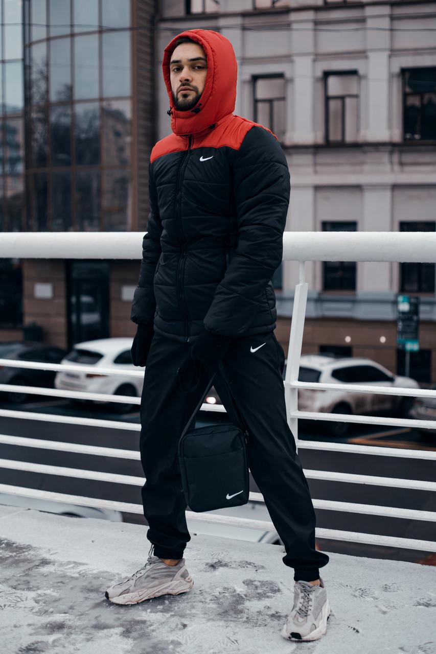 Куртка мужская Зимняя Nike красная-черная + штаны найк черные Комплект спортивный+Барсетка+перчатки в Подарок.