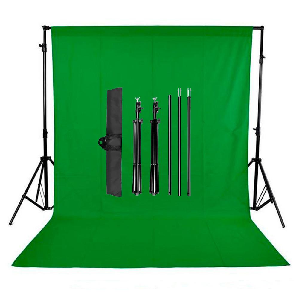 """КОМПЛЕКТ тканинний фон (2*3м) з тримачем фону """"Ворота"""" LD2030 колір фону зелений хромакей"""