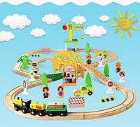 Железная деревянная дорога детская, EdWone, 70 деталей, 3+ (Brio, Ikea) E16A10