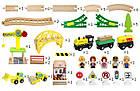 Железная деревянная дорога детская, EdWone, 70 деталей, 3+ (Brio, Ikea) E16A10, фото 2
