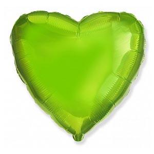 """Фольгована кулька серце зелений (лайм) 18"""" Flexmetal"""