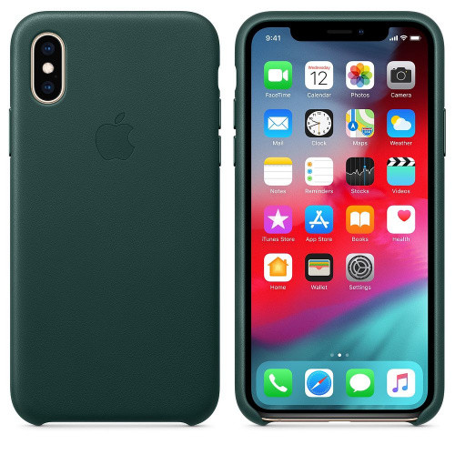 Чехол Leather Case iPhone XS  Forest Green  (Natural Leather)
