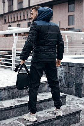 Куртка мужская Зимняя Nike синяя черная + штаны найк черные . Комплект спортивный+Барсетка+перчатки в Подарок., фото 3