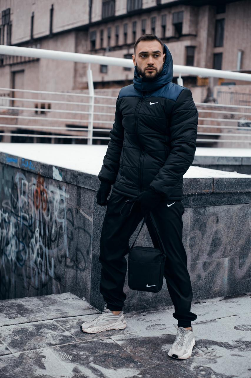 Куртка мужская Зимняя Nike синяя черная + штаны найк черные . Комплект спортивный+Барсетка+перчатки в Подарок.