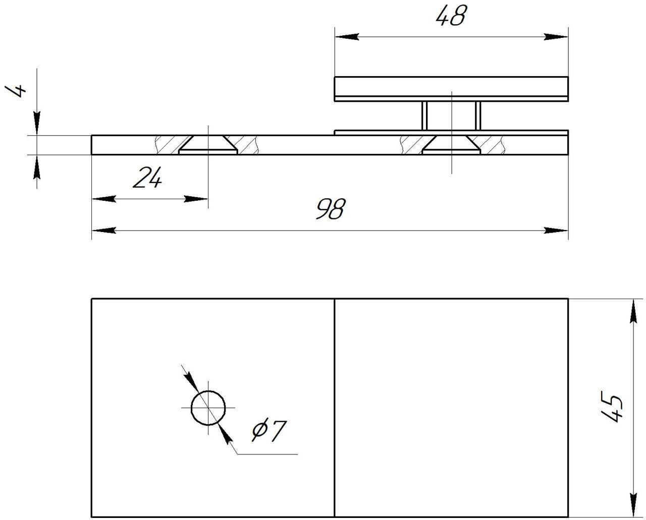 ODF-01-19-02 крепление стекла к стене 180 градусов, полированный