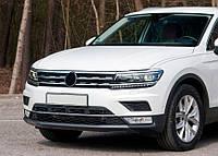 Volkswagen Tiguan 2016↗  Накладки на кант решетку и фары (3 шт, нерж)