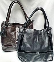 Женские сумки-торба на плечо из искусственной кожи на 2 змейки 29*29 см