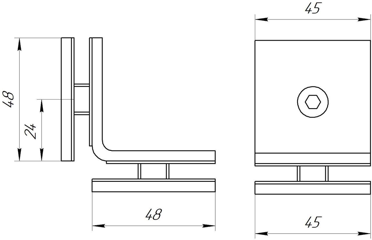 ODF-01-21-21 соединение стекло-стекло 90 градусов, черный RAL 9005
