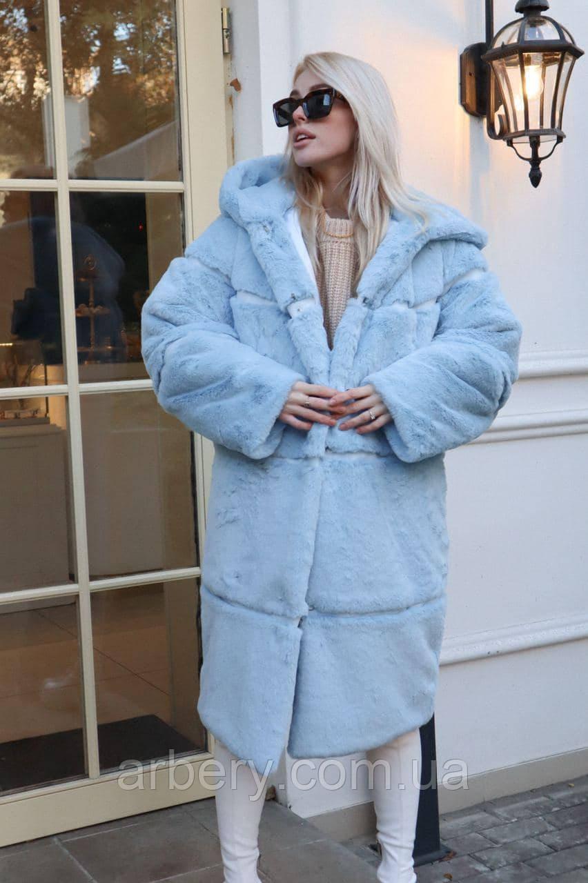 Женская зимняя шубка из кролика Oversize