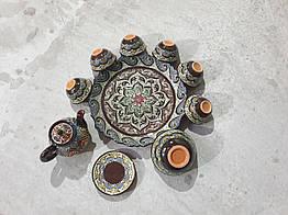 Приголомшливий новий сервіз ручна точкова розпис. Узбекистан. Чайний сервіз. 10 предметів. Уцінка