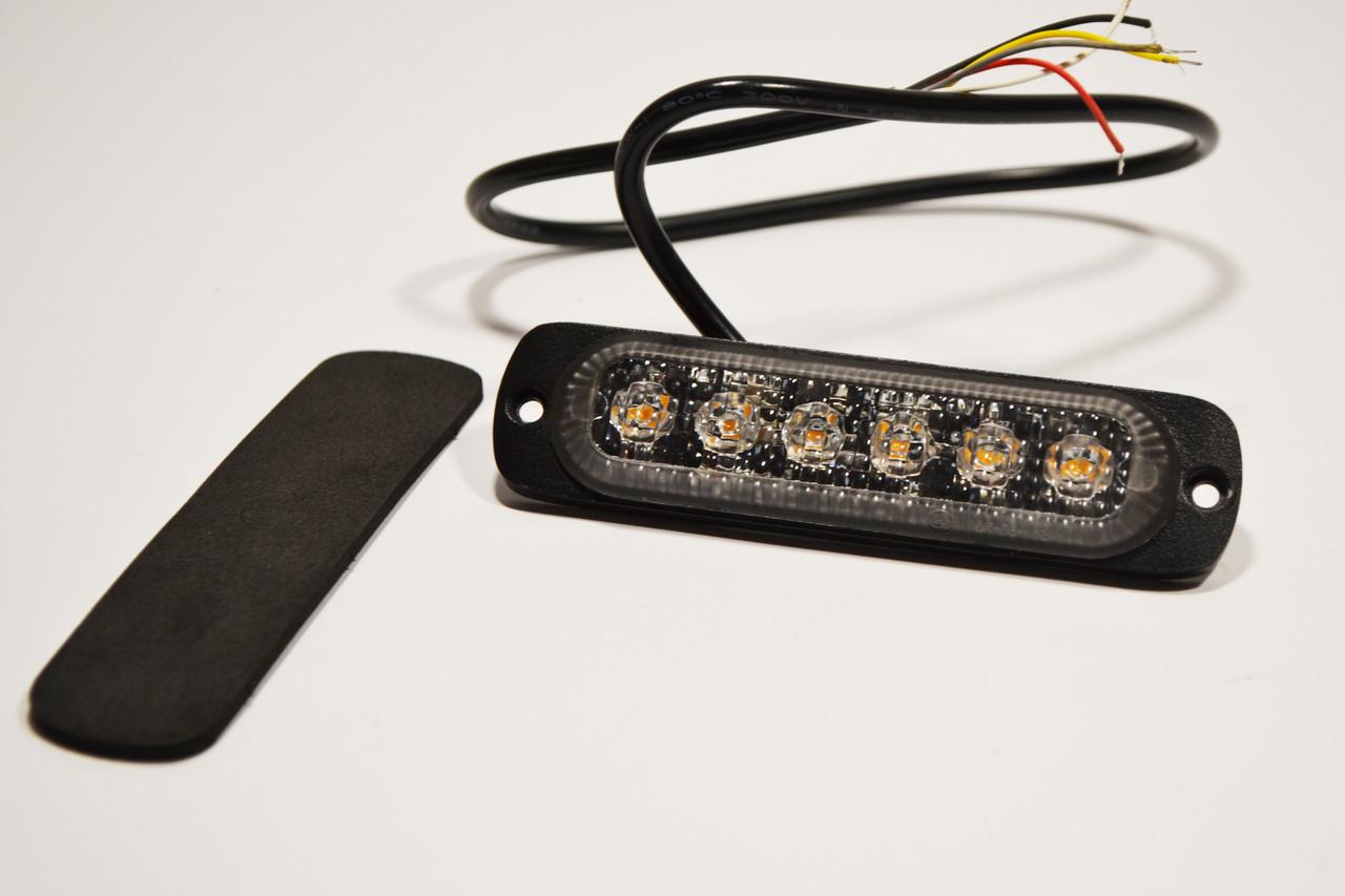 Габарит LED (NTK) 12v-24v 6-ти диодный желтый стробоскоп
