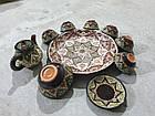 Узбецький сервіз 3D техніки, ручної роботи з червоної глини. 10 предметів, фото 5