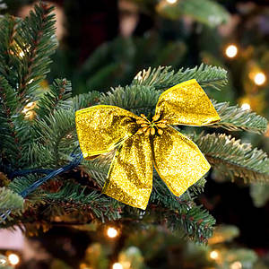 Бант рождественский золото 9247