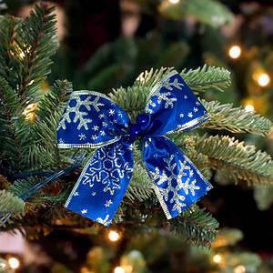 Бант рождественский синий 9241