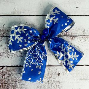 Бант рождественский синий уп 7шт 9242