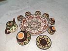 Узбекский сервиз 3D техники, ручной работы из красной глины. 10 предметов, фото 4