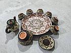 Узбецький сервіз 3D техніки, ручної роботи з червоної глини. 10 предметів, фото 3