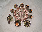 Узбекский сервиз 3D техники, ручной работы из красной глины. 10 предметов, фото 2