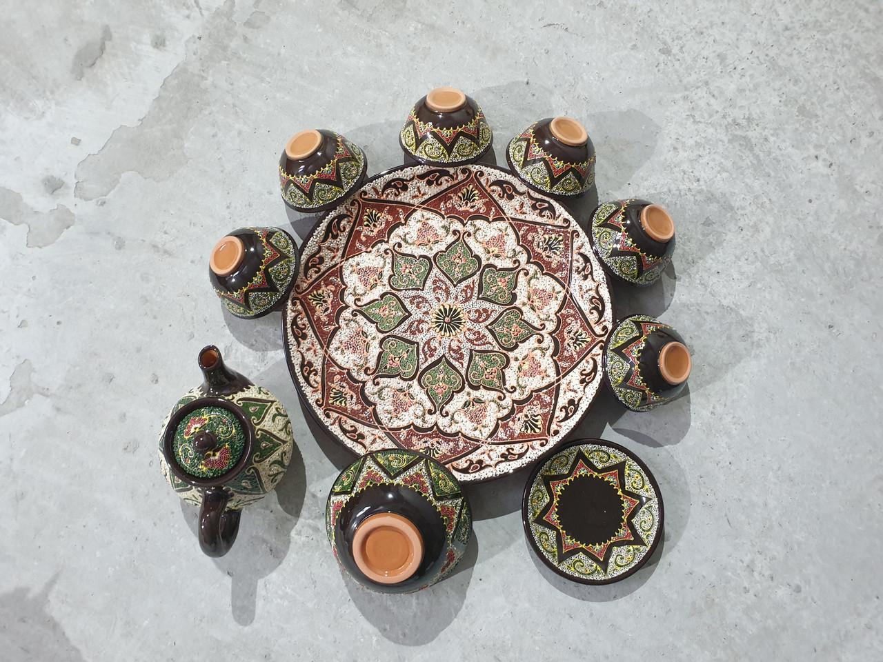 Узбекский сервиз 3D техники, ручной работы из красной глины. 10 предметов