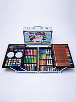 Набор для детского творчества и рисования 145 предметов юный художник в алюминиевом чемодане единорог