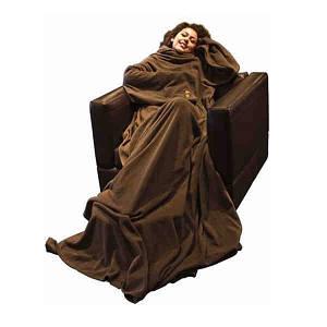 Плед с рукавами флис Шоколадный (плотность 180) (md14051)