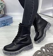 Легендарные! Dr. Martens Jadon женские  зимние кожаные ботинки  на платформе с шнуровкой черные мартенсы, фото 1