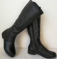 Женские зимние сапоги Limoda по колено со змейкой еврозима черные кожа, фото 1
