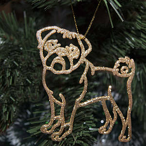 Украшение Собака Мопс пластик 12х9см (золото)