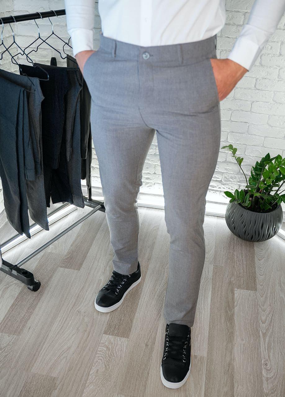 Мужские брюки серые приталенные