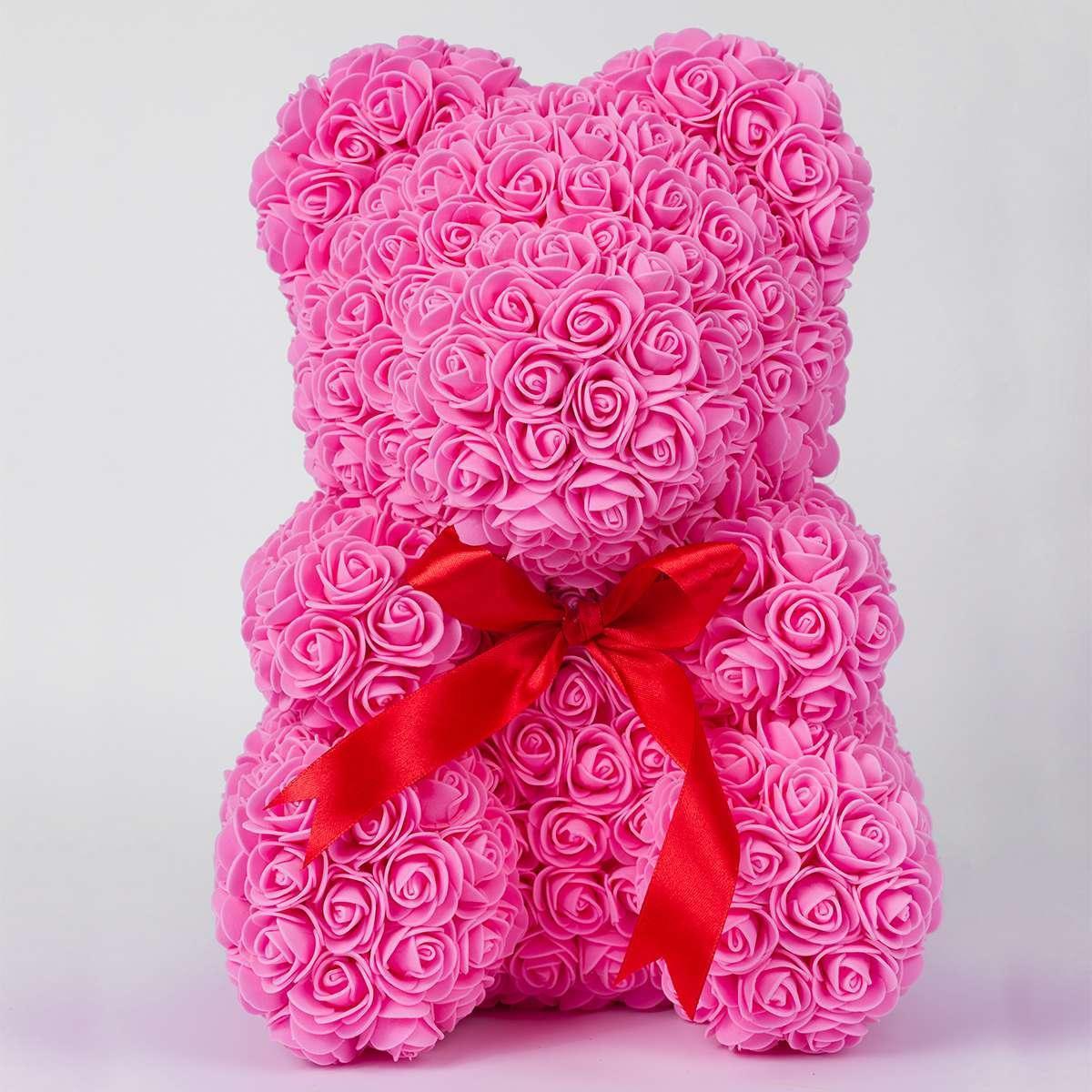 Мишка из роз Bear в подарочной коробке 40 см Розовый