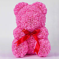 Мишка из роз Bear в подарочной коробке 40 см Розовый, фото 1
