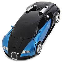 Машинка Трансформер Bugatti Robot Car Size 1:18 Синяя с пультом, фото 1