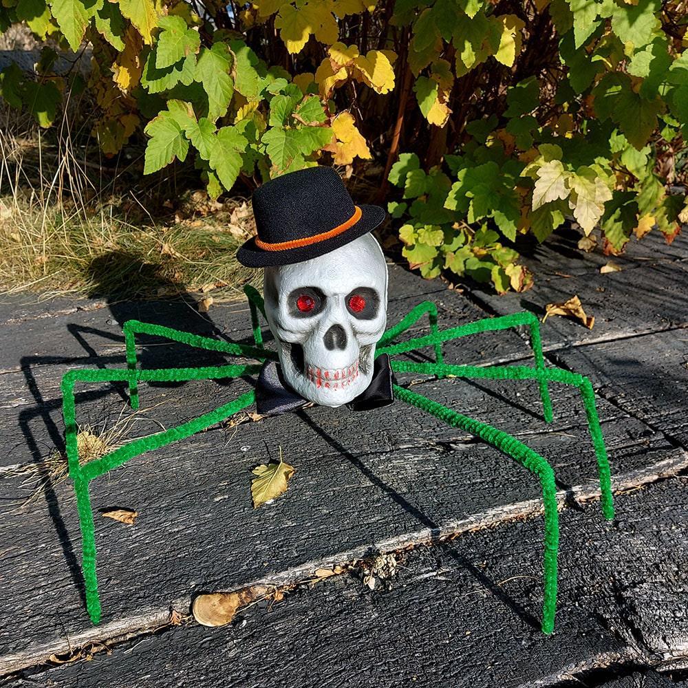 Паук готический Король тьмы 72см с черепом (зеленый) 09948 1190782713