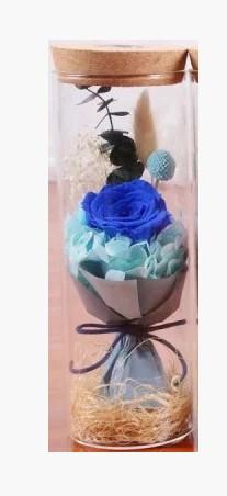 Роза в колбе с LED  подсветкой Синий цвет