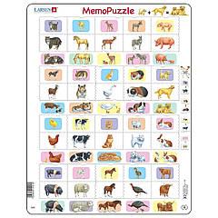 Пазл Larsen рамка-вкладыш Мемо Животные и их детеныши серия Макси (GP9)