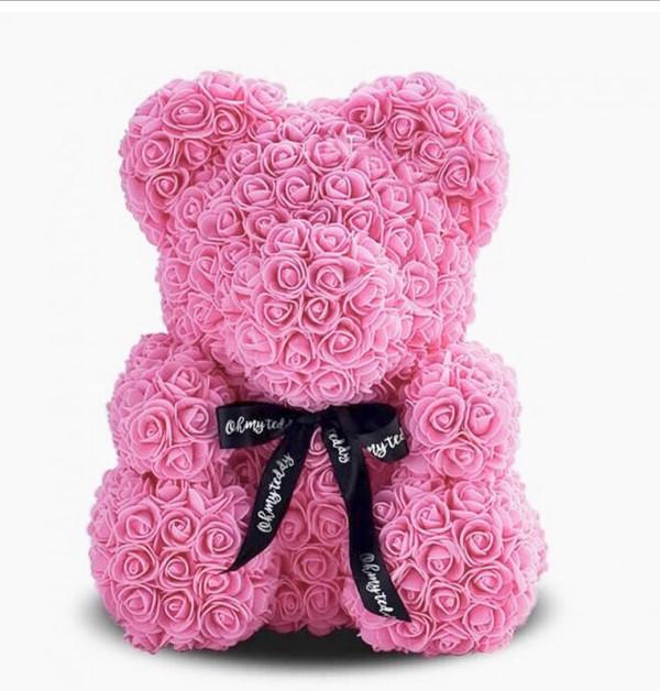 Мишка из роз Bear в подарочной коробке 25 см Розовый