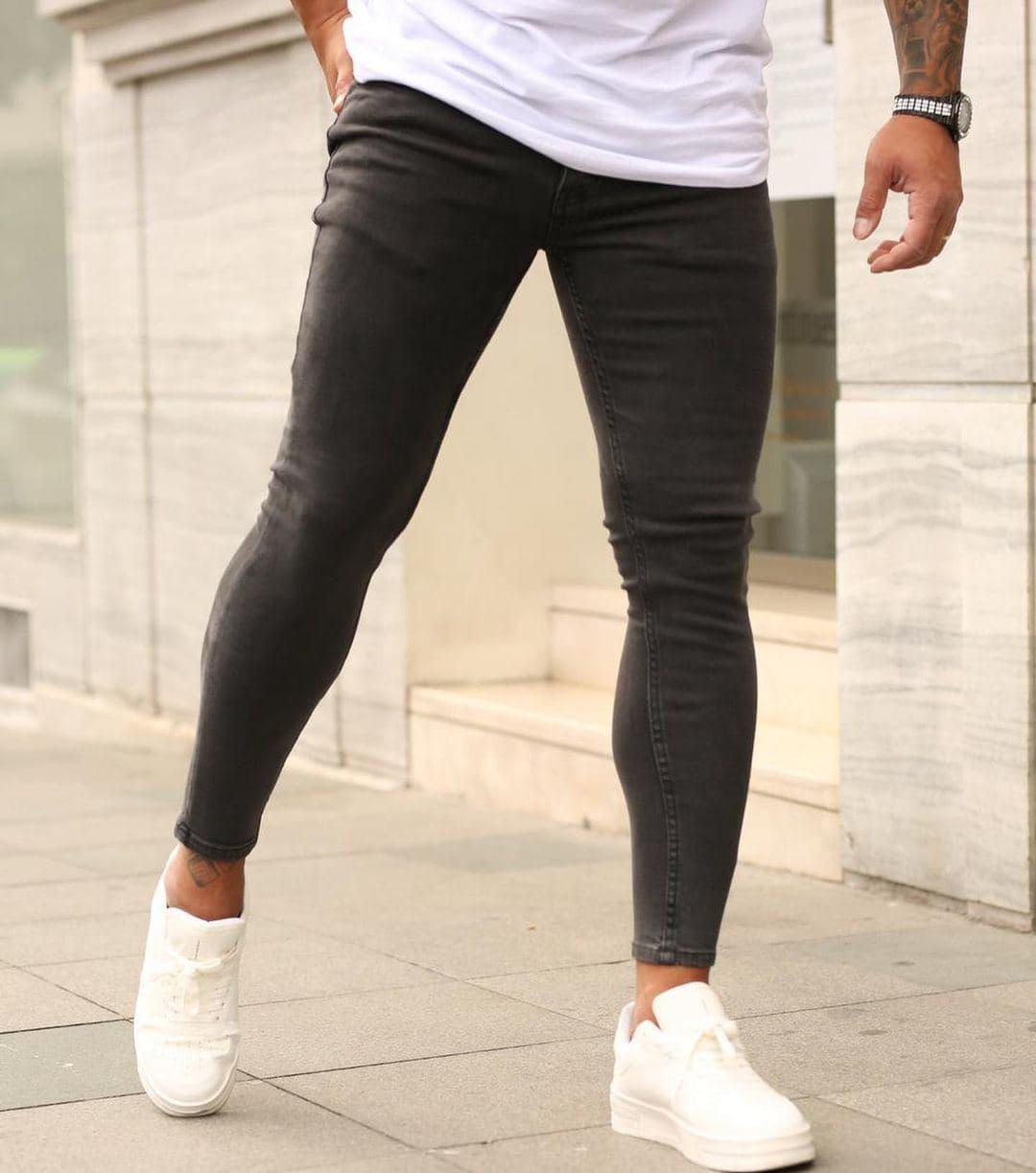 Мужские джинсы зауженные темно-серые