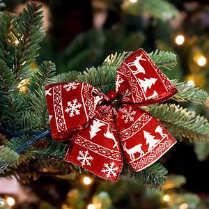 Бант рождественский красный со снежинками (уп 5шт)  9240