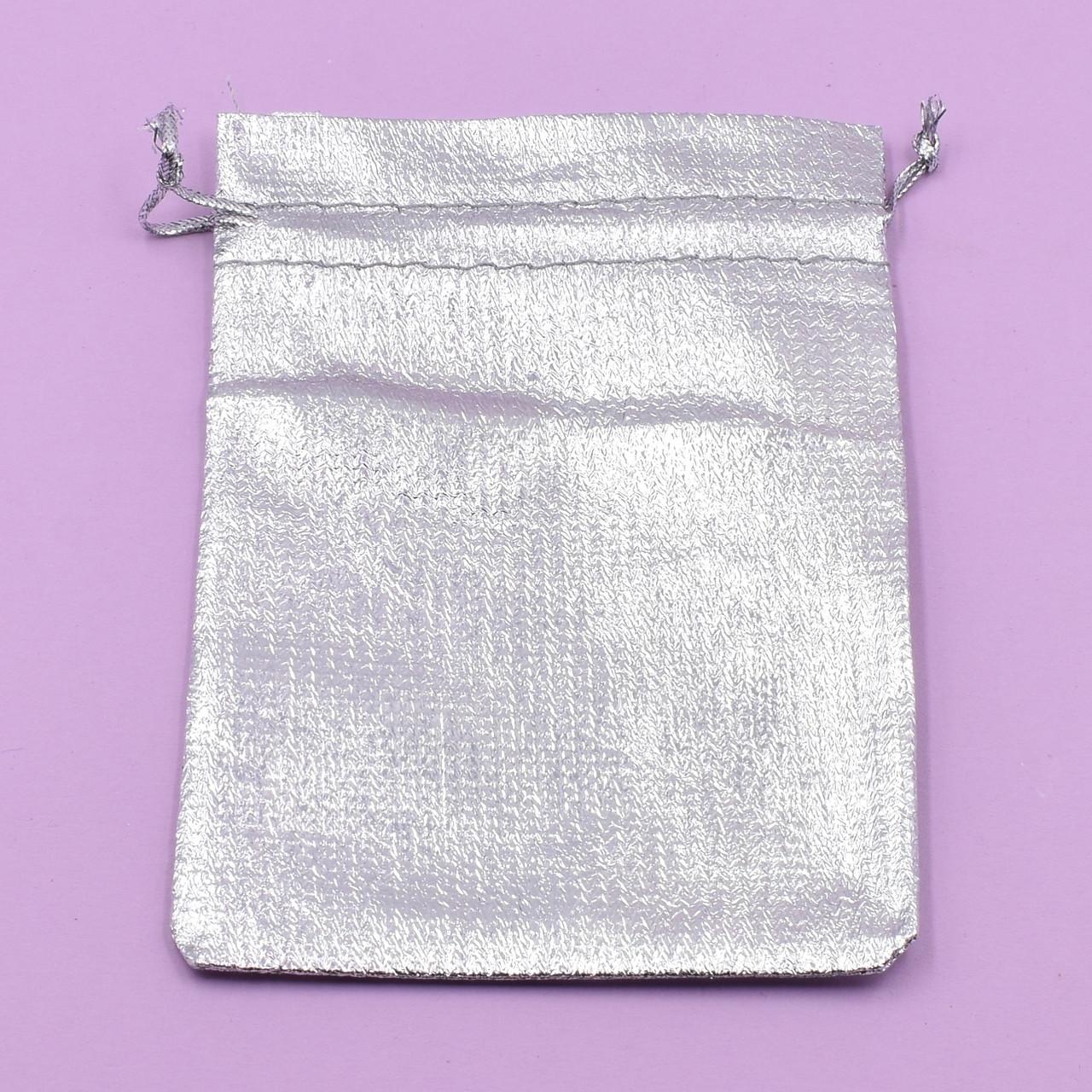 Подарочный мешочек серебристый 741182 размер 11х9 см