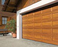 Ворота гаражные секционные LTH 40 из дерева с электроприводом, фото 1